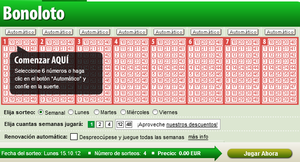 Cuando se juega la loteria bonoloto.