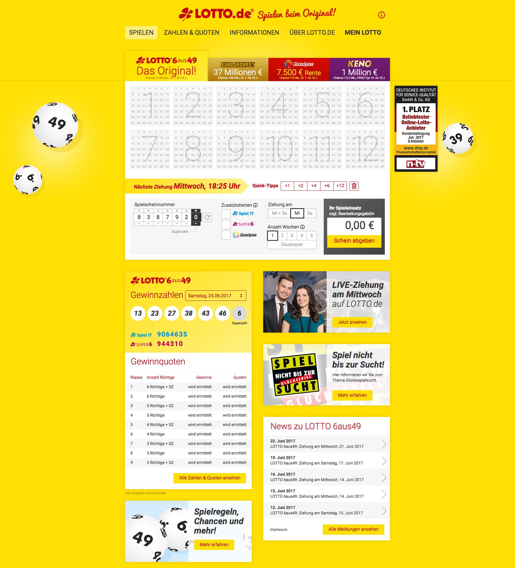 Lottó szerdán: nyerő számok, lottószámok és előzmények | lottozahlen.eu